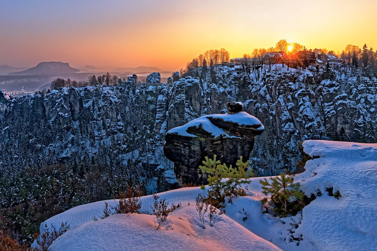 Panorama Bastei im Winter